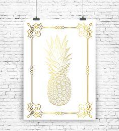 """Originaldruck - Kunstdruck """"Ananas Gold Art"""" - ein Designerstück von MilaLu-Prints bei DaWanda"""