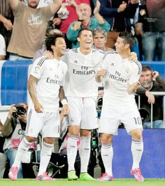 Celebran gol de Cristiano con el ras tas tas de James. Real Madrid oct 5/14