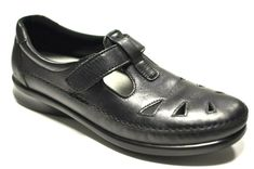 8dd9eb2d641 SAS Women s Roamer Leather Flats Loafers Shoes SIZE 8.5 S SLIM AAA Black   SAS