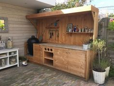 Modern Outdoor Kitchen, Outdoor Living, Outdoor Decor, Bbq Shed, Bbq Bar, Pub Sheds, Pergola, Diy Grill, Patio Bar