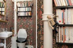 Quirky wallpapered bathroom / reading room. Wallpaper, William Morris