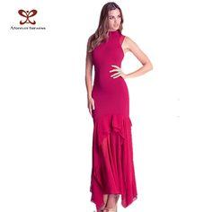 Women Fashion Dress Chiffon Splicing Stand Collar Sleeveless Ruffle Elegant Fashion Slim Trumpet Sexy Long Party Dress NC-392