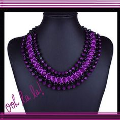 """STATEMENT CHAIN COLLAR BIB NECKLACE STUNNING Women's Statement Chain Collar Bib Necklace-Bohemian Style. Gorgeous Purple & Black. This piece will certainly turn some heads. It is absolutely gorgeous! It is Approx. 18"""" Long with adjustable chain so it can be worn even longer or shorter. Jewelry Necklaces"""