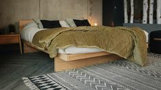 solid-ash-kyoto-bed-with-headboard---warm-green-velvet-throw Velvet Bed, Velvet Quilt, Cotton Velvet, Japanese Style Bedroom, Aubergine Colour, Bed Company, Lilac Grey, Bed Throws, Headboards For Beds