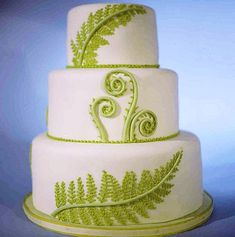 Beautiful Cake Pictures: White Cake With Green Ferns - White Cakes - Creative Wedding Cakes, Wedding Cake Designs, Creative Cakes, Beautiful Cake Pictures, Beautiful Cakes, Amazing Cakes, Fern Wedding, White Cakes, Just Cakes