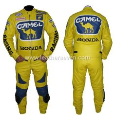 Honda Camel Yellow Leather Motorcycle Biker Racing Suit