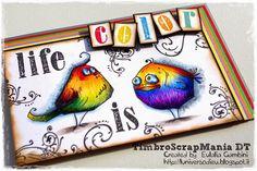 """Tim Holtz """"Bird crazy"""" coloured by L'Universo di Eu - I'm crazy in love."""