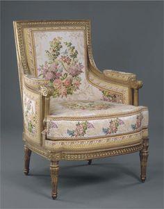 Hermoso sillón Louis XVI bergère del castillo de Compiègne; c. 1790
