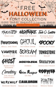 Free Font Collection: Halloween Fonts — Journey With Jess Scary Font, Spooky Font, Halloween Fonts, Happy Halloween, Halloween Signs, Cool Fonts, Creative Fonts, Awesome Fonts, Fun Fonts