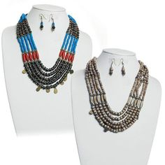 """Adorn yourself with these Tribal Inspired necklace and earrings sets. Necklace is 20"""" inches and matching earrings 2.5"""" inch. Each set is uniquely designed with beads of various colors and sizes. Choose from Antique, Dark Brown and Multi Color."""