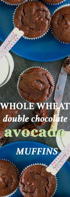 avocado recipes | chocolate muffins | double chocolate muffins | whole wheat muffins | healthy muffins | avocado muffins | muffin recipes | chocolate avocado