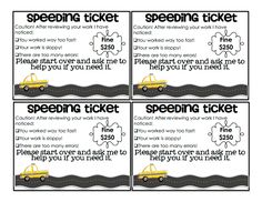 Speeding Ticket.pdf - for students who rush through work and make errors