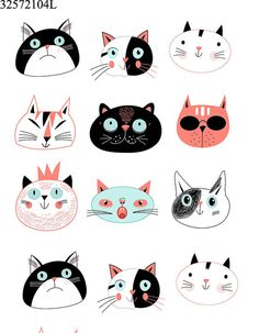Find Graphic Seamless Portraits Cats On Blue stock images in HD and millions of other royalty-free stock photos, illustrations and vectors in the Shutterstock collection. Gato Doodle, Doodle Art, Doodle Challenge, Illustration Art, Illustrations, Sketch Painting, Cat Crafts, Cat Drawing, Art Plastique