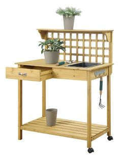 Amazon.com: Convenience Concepts Deluxe Potting Bench With Cabinet ...