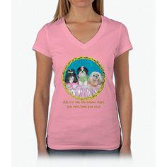 Shih Tzu Spring Easter Valentine Watercolor Womens V-Neck T-Shirt