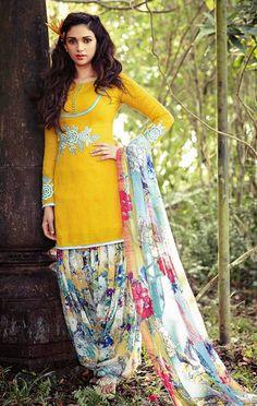 USD 50.81 Aditi Rao Hydari Yellow Cotton Jacquard Punjabi Suit 55661