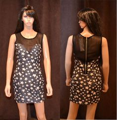New Ladies Sexy Bodycon Mesh Print Star Party Evening Casual Dress Bodycon ss13