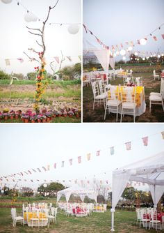 lovely rustic outdoor wedding reception...those tents are not so bad!  Magnolia Rouge