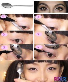 Use a spoon for a perfect winged eye look...Great trick!