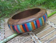 Wood Stone Bangle Inlay / Wide Solid Wood Bracelet Striped Stripes Colors Multi Rainbow Colored Rainbow Big Fun Boho / FREE SHIPPING by CREATIONSbySabine