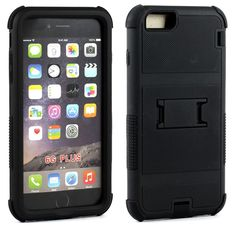 Apple iPhone 6/6S Plus 5.5 Ultra Shield Armor Hybrid with Stand - Black