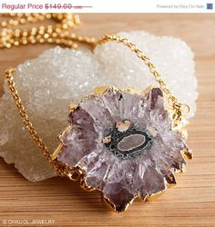 HOLIDAY SALE Raw Purple Amethyst Geode Slice Statement Necklace - 14K Gf - Rough, Edgy