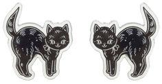 CREEP HEART BLACK CAT STUD EARRINGS - Sourpuss Clothing