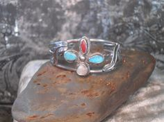 Vintage Silver Turquoise Coral Mother of Pearl Cuff egl ooak rococo southwest hippie boho sundance style jewelry rustic jewelry by LandofBridget