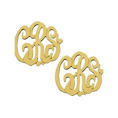 West Avenue Jewelry Script Monogram Earrings ($250) ❤ liked on Polyvore featuring jewelry, earrings, accessories, monogram, yellow jewelry, 14 karat gold earrings, rose jewelry, white gold jewelry et 14k white gold earrings
