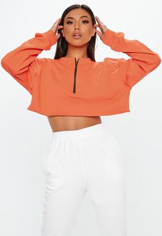 ab4d06f4ccc64 Missguided - Orange Boxy Cropped Zip Front Sweatshirt Missguided