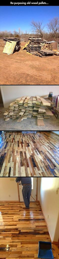 Repurposing wood pallets for cheep flooring and so cute!!