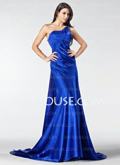 Evening Dresses - $126.99 - A-Line/Princess One-Shoulder Court Train Tulle Charmeuse Evening Dress With Ruffle Lace Beading (017005207) http://jjshouse.com/A-Line-Princess-One-Shoulder-Court-Train-Tulle-Charmeuse-Evening-Dress-With-Ruffle-Lace-Beading-017005207-g5207