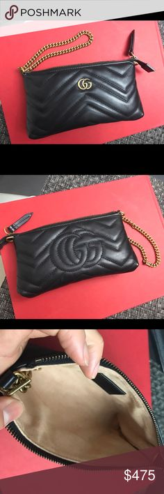 Gucci GG Marmont mini chain bag wristlet A GG Marmont chain mini bag that can also be worn as a wristlet. Made in matelassé leather with a chevron design and GG on the back. Used 1 time so it's in good new condition. I will include a dust bag with this purchase. Gucci Bags Mini Bags
