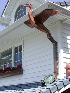 Blue heron and frog downspout