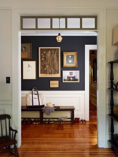 Navy farmhouse hallway