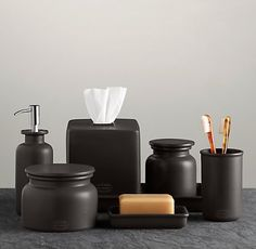 Charcoal Flatiron Union Stoneware Bath Accessory Tumbler, Soap Dish, Small & Large Canisters, Tray, Dispenser & Tissue Cover from Restoration Hardware