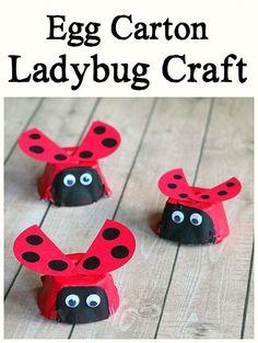ladybug egg carton craft - bug crafts- acraftylife.com