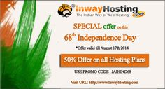 Purchase Any Web Hosting plan #UnlimitedWebHosting, #CorporateWebHosting,#ResellerWebHosting with 50% Offer on this 68th Independence Day Inway Hosting (India).  This #SpecialOffer Valid till 17th August 2014  For Hosting plans, Visit : http://www.inwayhosting.com