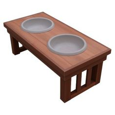 New Age Pets Chestnut Indoor/Outdoor Raised Diner Dog Bowls and Stand