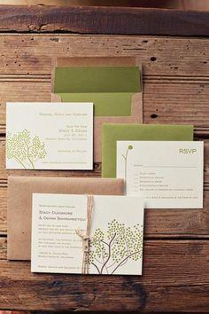 rustic green invitation suite, green wedding invitations, green wedding ideas