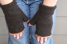 A Foothill Home Companion: Repurposed Fingerless Gloves Old Sweater, Wool Sweaters, Recycled Sweaters, Sewing Clothes, Diy Clothes, Sewing Hacks, Sewing Tips, Sewing Tutorials, Sewing Ideas