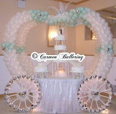 Cinderella Theme Weddings Quinceañeras by Balloons Milwaukee and Carmen Ballering - Make Your's a Memorable Event Cinderella Quinceanera Themes, Quinceanera Cakes, Quinceanera Decorations, Balloon Decorations, Wedding Decorations, Quinceanera Ideas, Cinderella Baby Shower, Cinderella Theme, Princess Theme