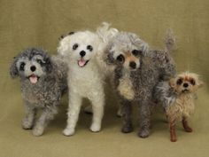 Custom order for Kathy four needle felted dogs  by Ainigmati