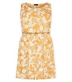 Plus Size Yellow Floral Print Shirred Waist Dress