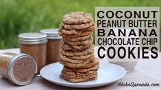 Coconut Peanut Butter Banana Chocolate Chip Cookies | AlohaSpreads.com Coconut Peanut Butter, Chocolate Peanut Butter, Drop Cookies, Fun Cookies, Banana Chocolate Chip Cookies, Dairy Free, Gluten Free, Snacks, Cholesterol