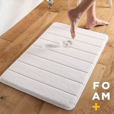 Step out of your shower and onto luxury with this Super Soft and Absorbent Memory Foam Bath Mat. This special mat is designed with super soft and absorbent fabric. Filled with memory foam, it cushions Laundry In Bathroom, Bathroom Rugs, Bath Rugs, Bathroom Ideas, Basement Bathroom, Washroom, Bathroom Organization, Bathroom Designs, Bathroom Interior