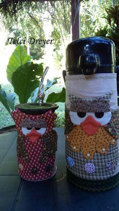 Capa para cuia de chimarrão e garrafa térmica com molde #garrafatermica #thermalbottle #botellatermica