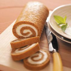 Pumpkin Cake Roll Recipe    Nutritional Facts 1 slice equals 182 calories, 5 g fat (3 g saturated fat), 64 mg cholesterol, 212 mg sodium, 31 g carbohydrate, 1 g fiber, 4 g protein. Diabetic Exchanges: 2 starch, 1/2 fat.    (hint) replace butter with light, use whole wheat flour