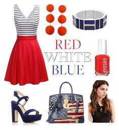 """*Red*White*Blue*"" by ivelascoart ❤ liked on Polyvore featuring Paul Andrew, Humble Chic, REGALROSE, Ralph Lauren and Chaps"