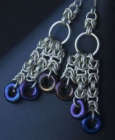 make the Triple Cascade chain maille earrings with a handy kit - 13 Inspiring Ear Wire Designs, The Best Ear Wire Tip Ever, Over 130 Earring Projects, One Ultimate Earring Kit - Jewelry Making Dailly